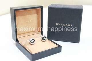 AUTHENTIC BVLGARI OPTICAL ILLUSION STERLING SILVER AND BLACK ONYX CUFF LINKS – VERY RARE