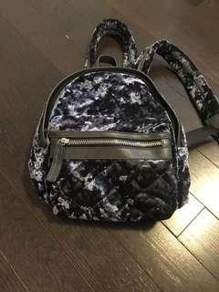 Blue velvet mini backpack