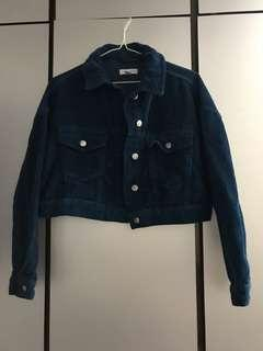 Topshop cropped corduroy navy blue jacket