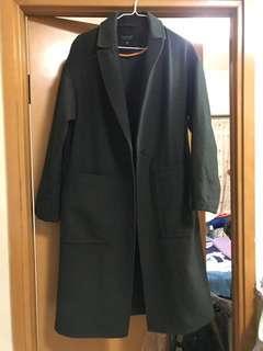 Topshop khaki wool coat jacket