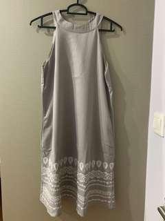 🚚 Halter neck grey embroidery dress