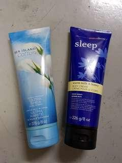 Bath & body works aromatherapy sleep sommeil body cream 24 hour moisture shea  set of 2
