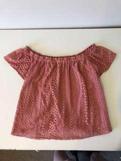 Peach Lace Off The Shoulder Top