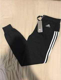 [Brand New] Adidas Essential 3 Striped Jersey Cuffed TrackPants