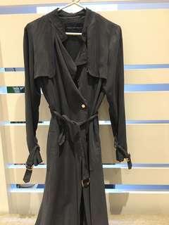 French connection women's grey trench coat - size 4/6