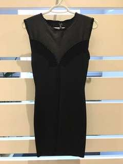 Women's black Marciano dress with leather