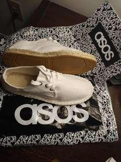 Men's ASOS White Lace Up Espadrille