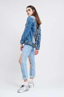 Ripped Jacket with Chains