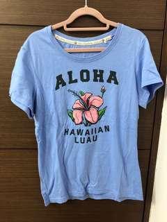 🚚 原創101夏威夷風情藍底T恤