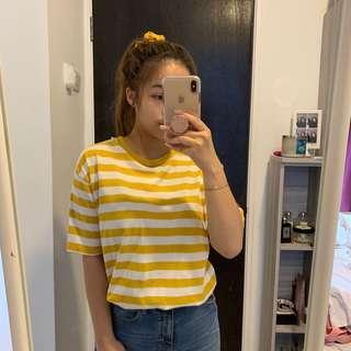 Brandy Melville Yellow Stripe Top