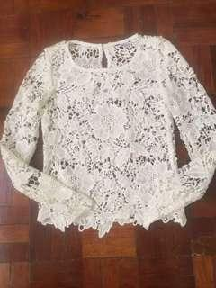 H&M white Lace / embroidered top free shipping