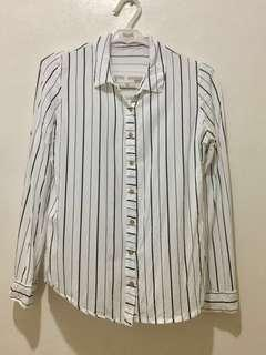 Long sleeves striped button up shirt Free shipping