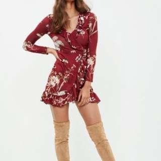 WORN ONCE burgundy floral print tea dress missguided size 8