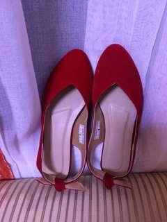 Red Ribbon Strap Flats
