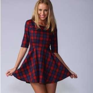 Red plaid tartan skater dress popcherry size 6