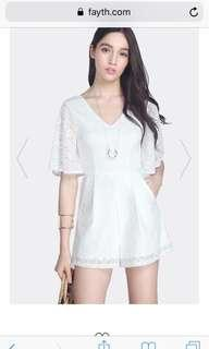 Fayth Calista Lace Playsuit in White