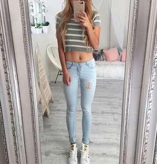 Striped Grey Crop Top