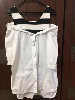 🚚 假兩件白襯衫