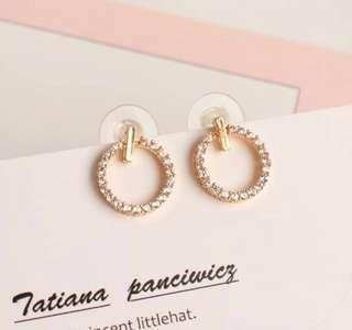 玫瑰金 時尚耳環 韓國首飾  情人節禮物 Rose Gold Sparkling Earrings
