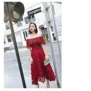 🚚 【衣服】晚禮服一字肩酒紅色