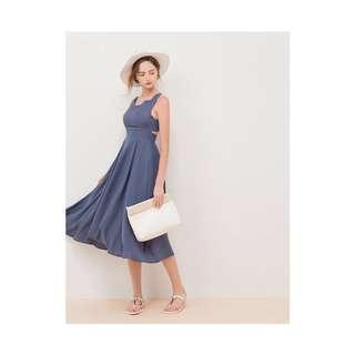 🚚 【衣服】AIR SPACE 後背交叉雪紡長洋裝(藍)