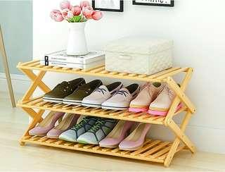 Folding shoe rack special price multi-layer simple wood simple home dormitory assembly nanzhu shelving(3 Floors)