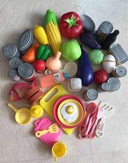 Plastic toys kitchen accessories