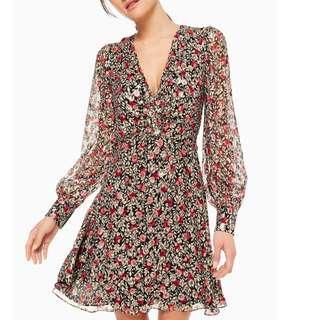 Kate Spade 長袖雪紡洋裝 floral park clip dot mini dress 0