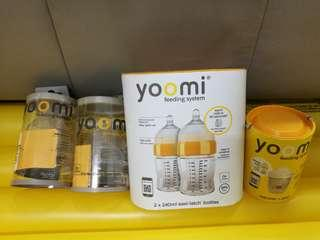 Yoomi Twin Packs 240MLK Feeding Bottles Complete Set
