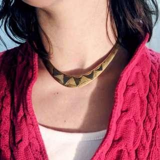Vintage Brass-Coat Torque Choker Openback Necklace