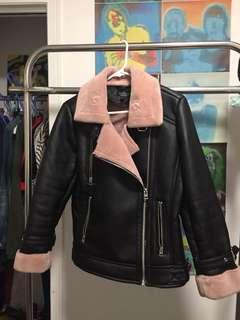 Topshop faux fur oversized moto jacket - petite sz 6