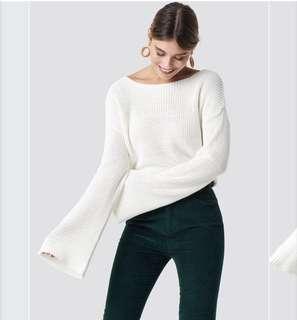 Bat sleeve jumper white