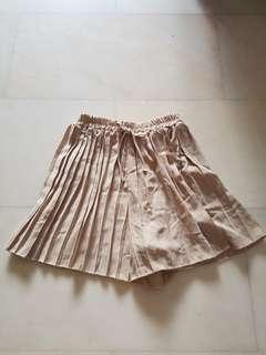 Beige Pleated Culottes Shorts