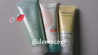 Wardah sunscreen, peeling cream dan purifying moist.