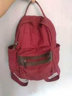Preloved bagpack maroon no merk