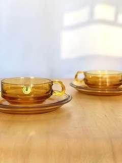 Hoya Amber glass cup and saucer vintage made in Japan