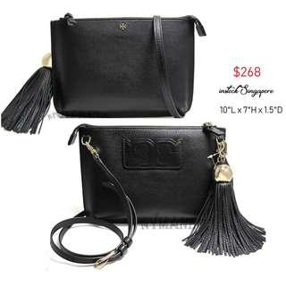 38948e327f8e5 READY STOCK authentic new Tory Burch TASSEL Crossbody Bag   Clutch Style   50671 black full