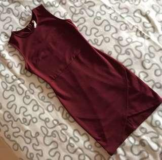 Kitschen Wine Red Overlap Dress