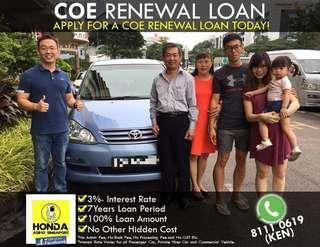 COE Renewal 100% Loan (No Admin/ Bank/ Process Fee or Any Hidden Cost)