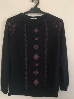 Embroidery Sweatshirt Blue Black #CNY888