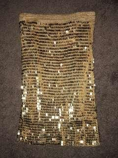 GOLD SEQUIN SKIRT SIZE SMALL