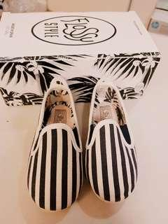 Preloved Flossy Style Slip Ons for Baby/Toddler Navy White Stripes