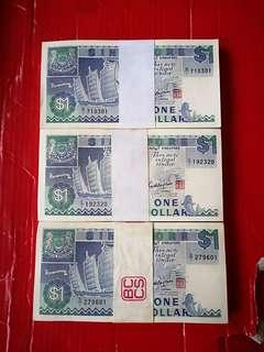 Singapore ship series $1 selling 3 stacks of 100 pcs (300pcs), ptefix B/1,C/1 & D/1 all fitst prefix of each alphabet. And in consecutive runs of 100 each and all i. Superb gem unc. Very scarce.