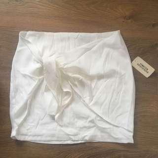 White Wrap Tie Skirt