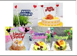(3 for $7.50)Happy Birthday Cake Topper