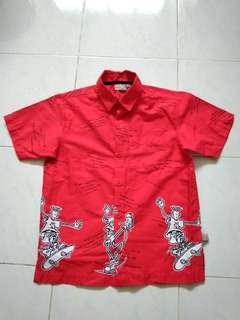 #FEBP55 🉐 Fido Dido Red Cotton Hawaii Shirt Size M Boy's