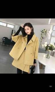 Yellow wool jacket and dress set