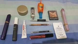 TAKE ALL SET MAKE UP Complete mix preloved new eyeshadow mascara eyeliner lipstik celak arab kajal bedak shiny oriflame face shop #jan25