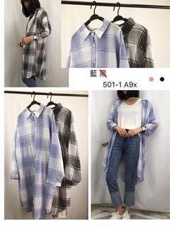 🚚 藍格長版襯衫#衣櫃大掃除 新品