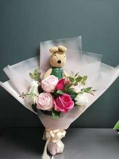 Flower bouquet with bunny